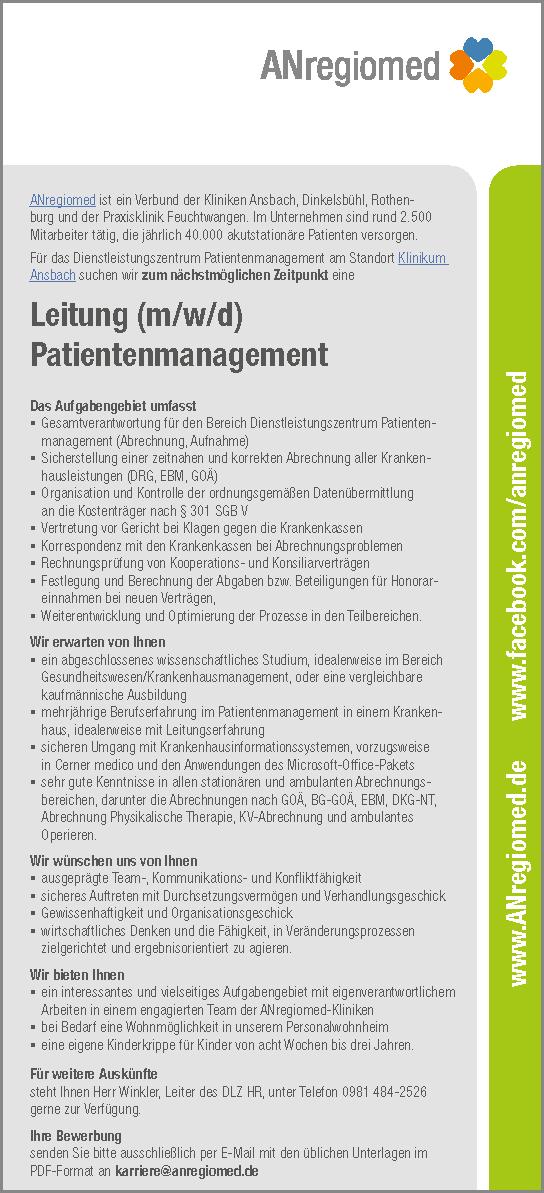 ANregiomed Ansbach: Leitung Patientenmanagement (m/w/d)