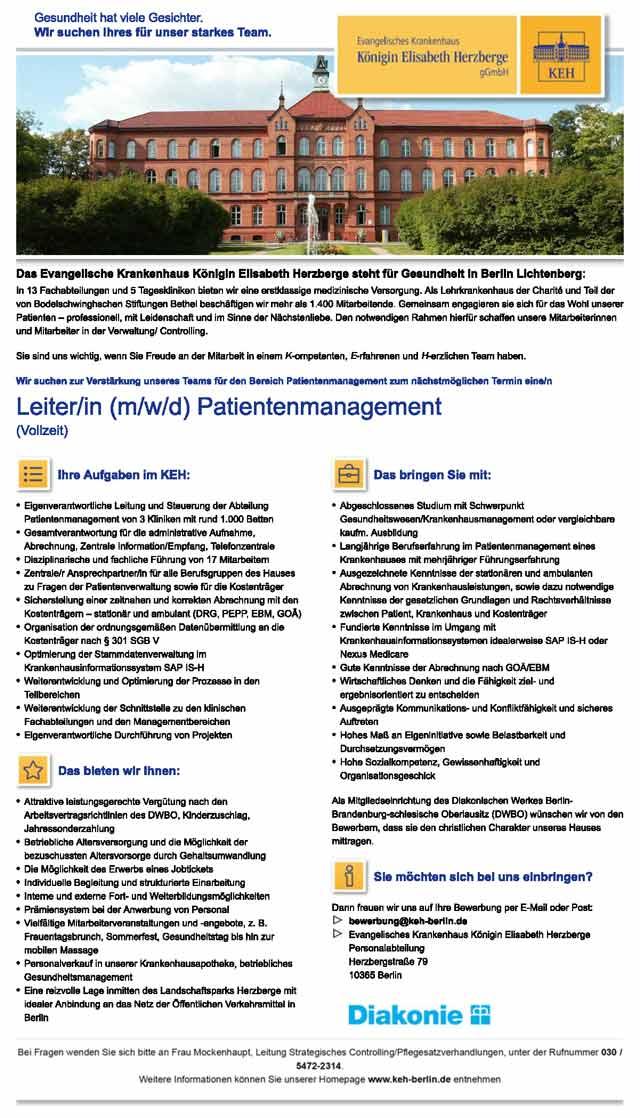 Evangelisches Krankenhaus Königin Elisabeth Herzberge Berlin: Leitung Patientenmanagement (m/w/d)