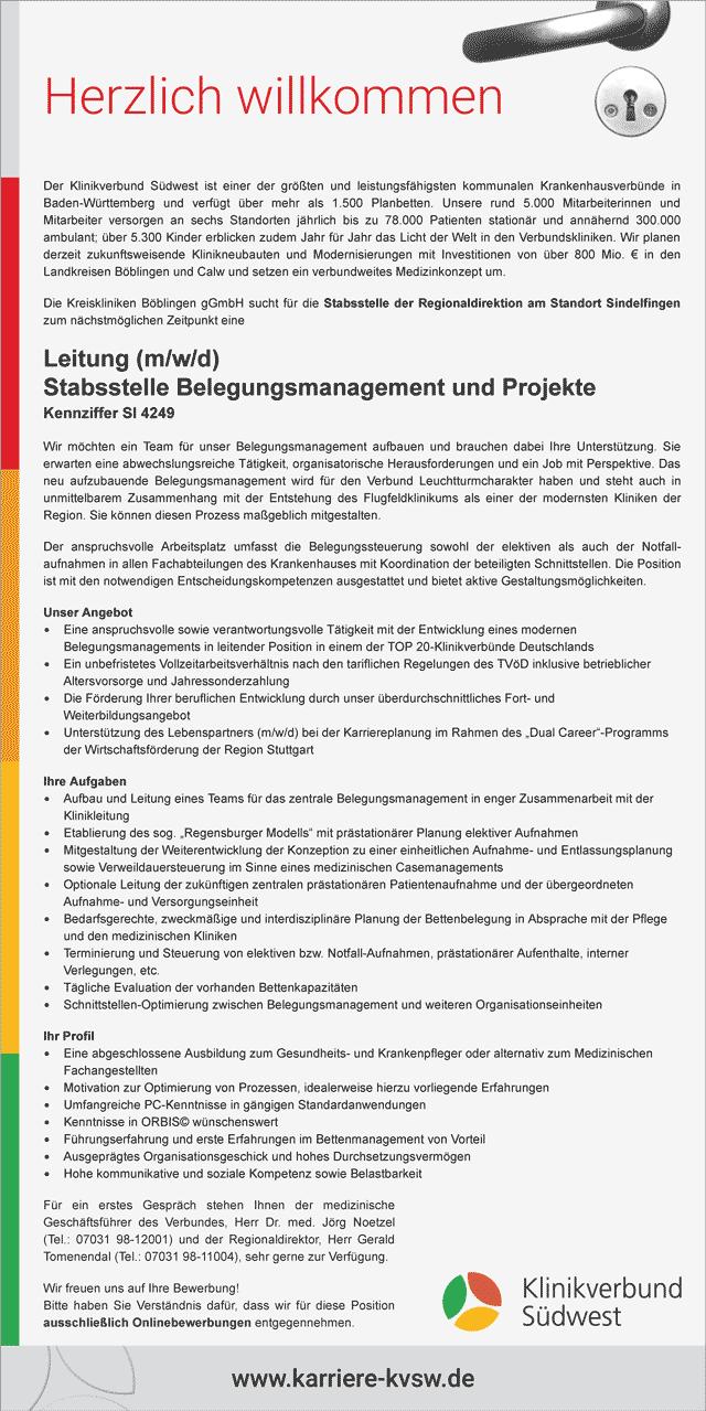 Klinikverbund Südwest GmbH: Leitung Stabsstelle Belegungsmanagement und Projekte (m/w/d)