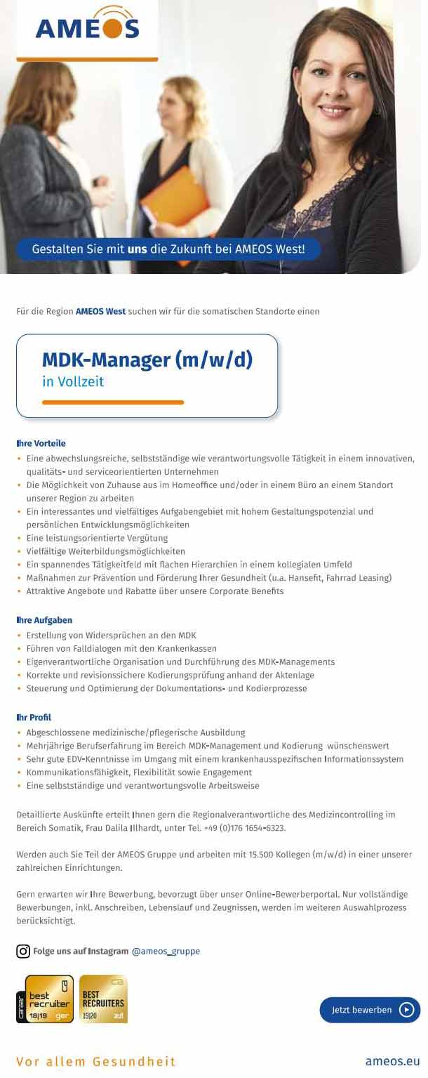 Ameos Region West: MDK-Manager (m/w/d)