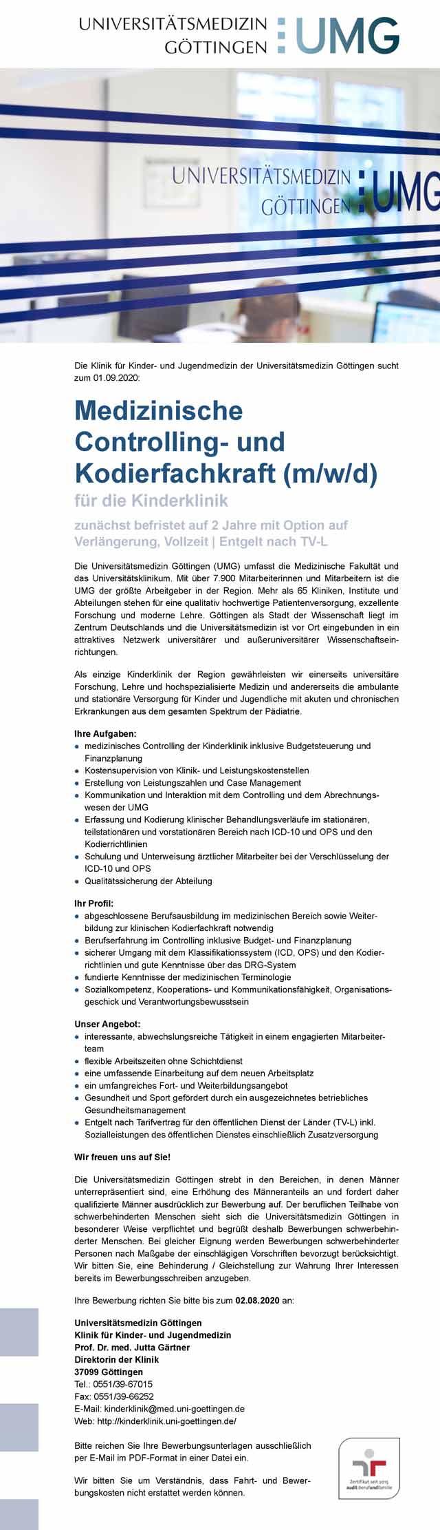 Universitätsmedizin Göttingen: Med. Controlling- und Kodierfachkraft (m/w/d)