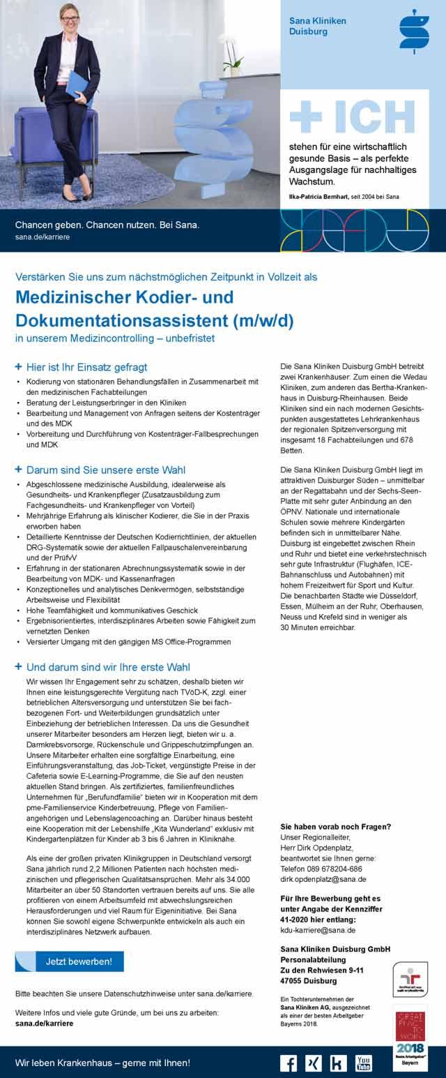 Sana Kliniken Duisburg GmbH: Medizinischer Kodier- und Dokumentationsassistent (m/w/d)