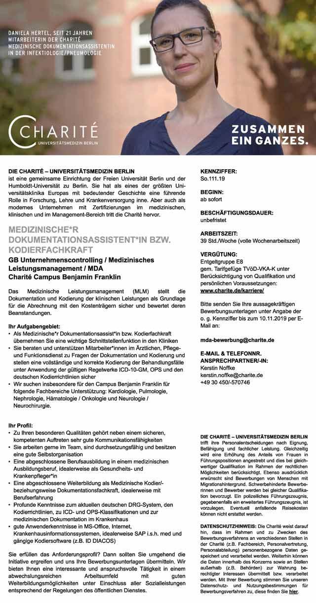 Charité Universitätsmedizin Berlin: Medizinischer Dokumentationsassistent / Kodierfachkraft (m/w/d)