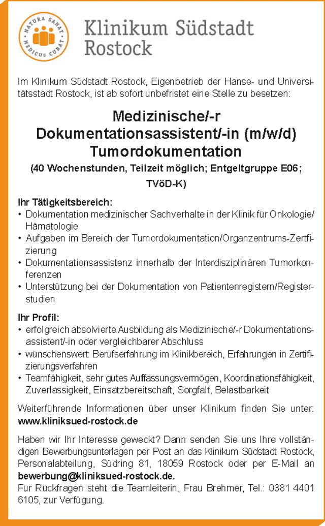 Klinikum Südstadt Rostock: Medizinischer Dokumentationsassistent (m/w/d)