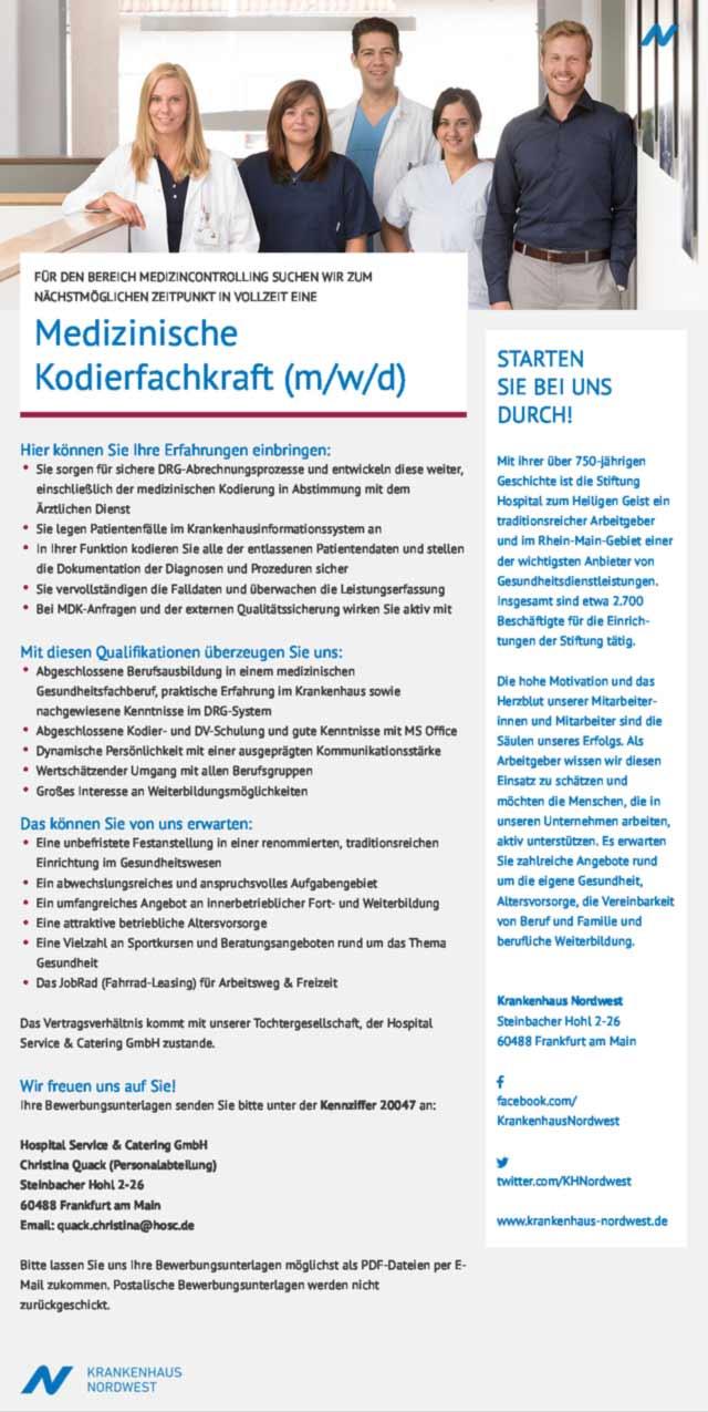 Nordwest-Krankenhaus Frankfurt am Main: Medizinische Kodierfachkraft (m/w/d)