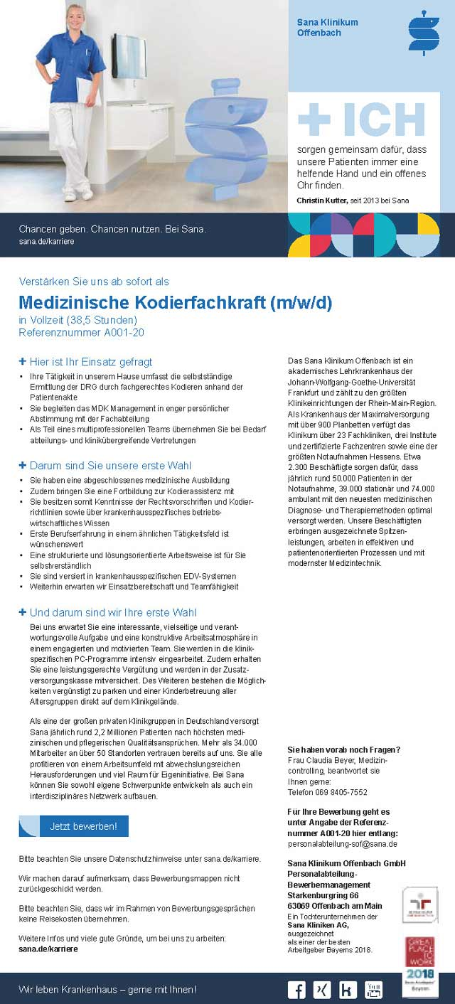 Sana Klinikum Offenbach GmbH: Medizinische Kodierfachkraft (m/w/d)