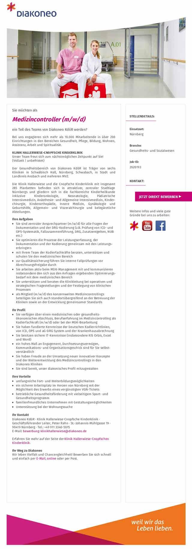 Diakoneo KdöR - Klinik Hallerwiese-Cnopfsche Kinderklinik: Medizincontroller (m/w/d)
