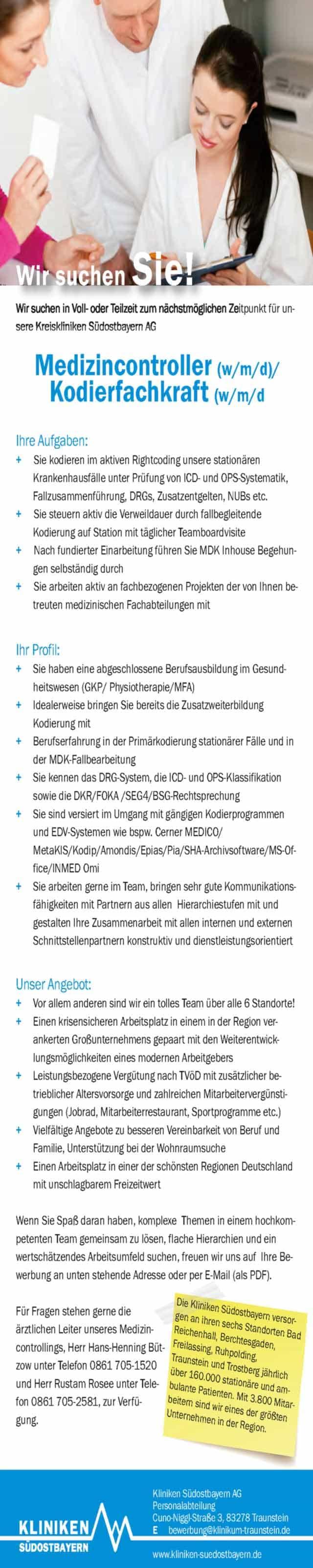 Kliniken Südostbayern AG: Medizincontroller / Kodierfachkraft (m/w/d)