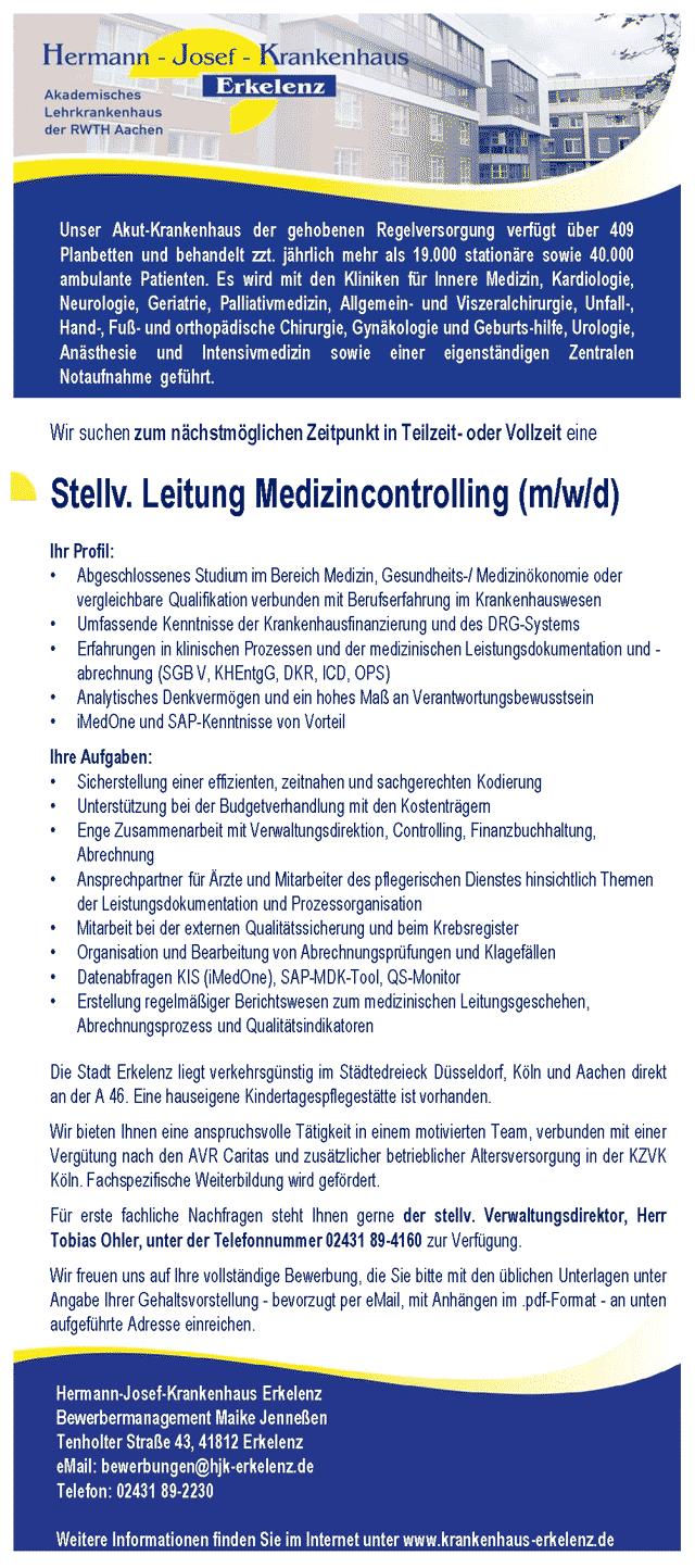 Hermann-Josef-Krankenhaus Erkelenz: Stellv. Leitung Medizincontrolling (m/w/d)