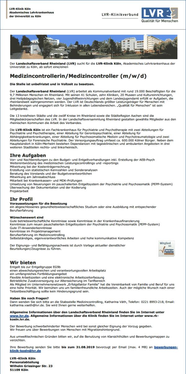 Landschaftsverband Rheinland: Medizincontroller (m/w/d)