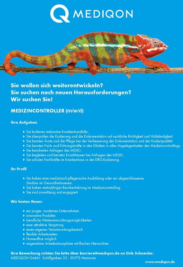 MEDIQON GmbH: Medizincontroller (m/w/d)