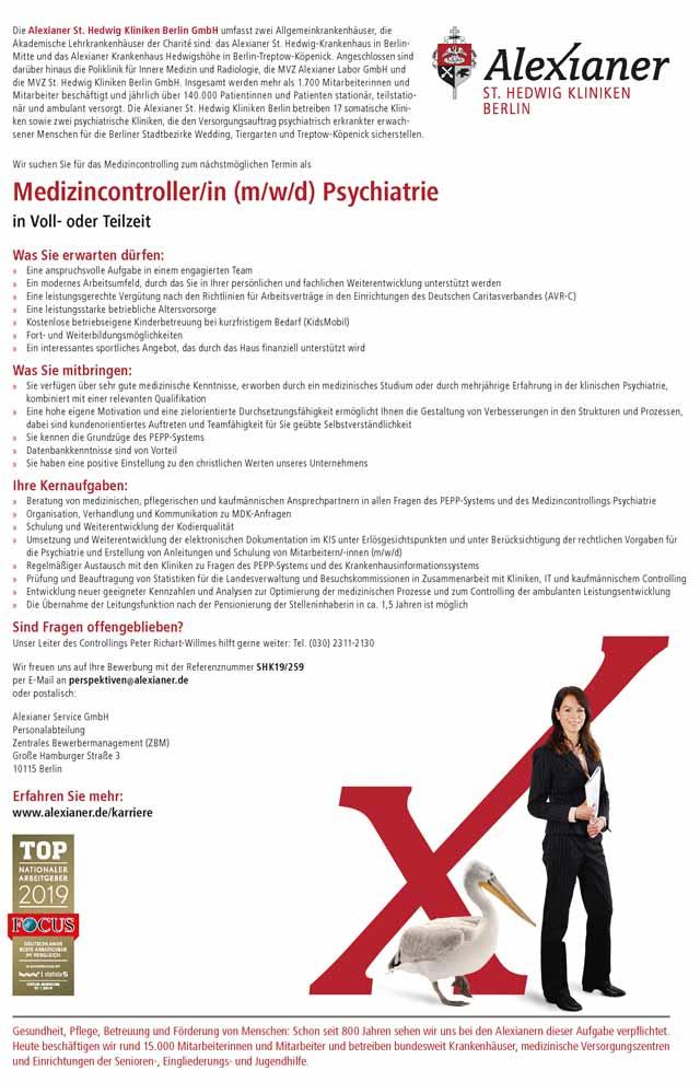 Alexianer St. Hedwig Kliniken Berlin GmbH: Medizincontroller Psychiatrie (m/w/d)