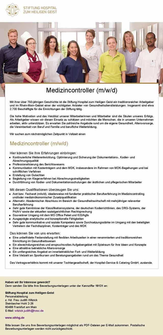 Stiftung Hospital zum heiligen Geist: Medizincontroller (m/w/d)