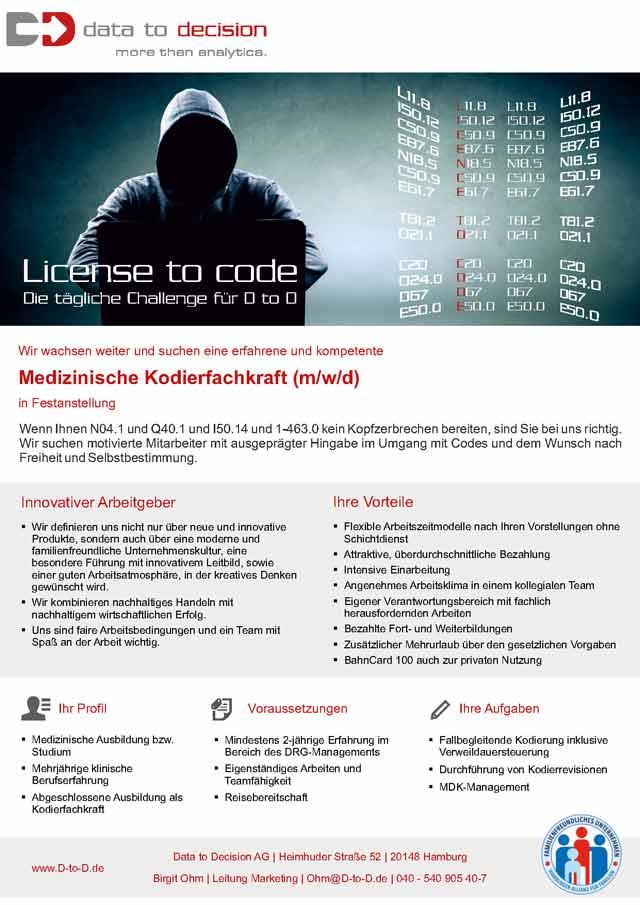 Data to Decision AG, Hamburg: Medizinische Kodierfachkraft (m/w/d)