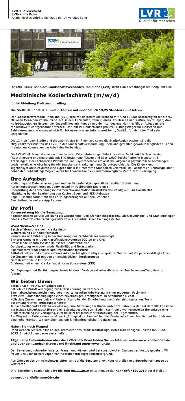 LVR-Klinik Bonn: Medizinische Kodierfachkraft (m/w/d)
