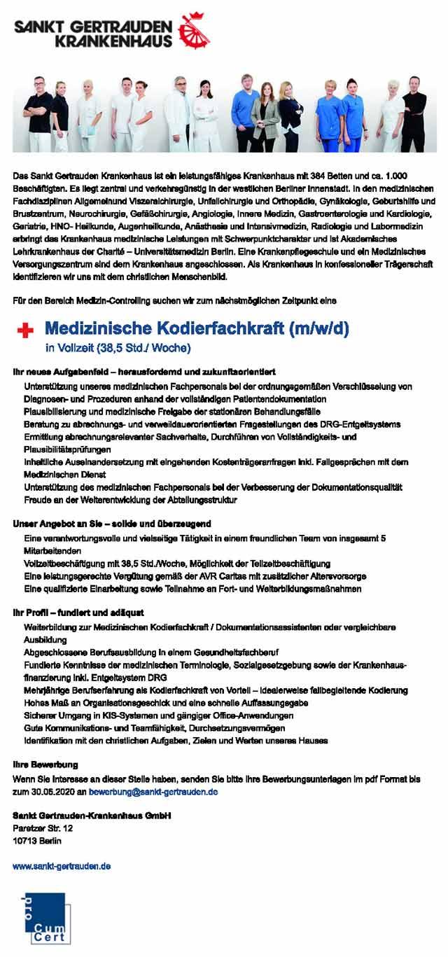 Sankt Gertrauden Krankenhaus Berlin: Medizinische Kodierfachkraft (m/w/d)