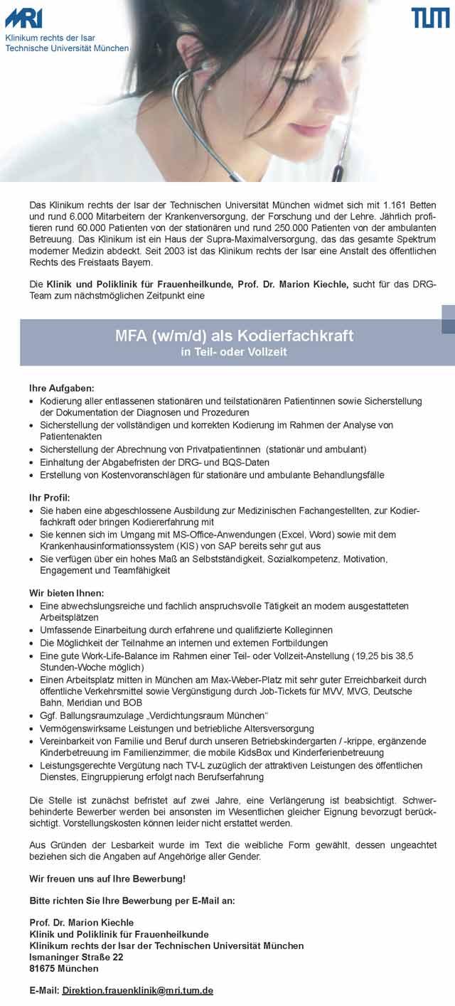 Klinikum rechts der Isar München: Kodierfachkraft (w/m/d)