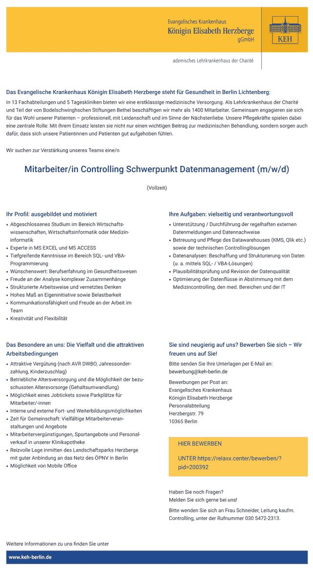 Evangelisches Krankenhaus Königin Elisabeth Herzberge Berlin: Mitarbeiter Controlling Schwerpunkt Datenmanagement (m/w/d)