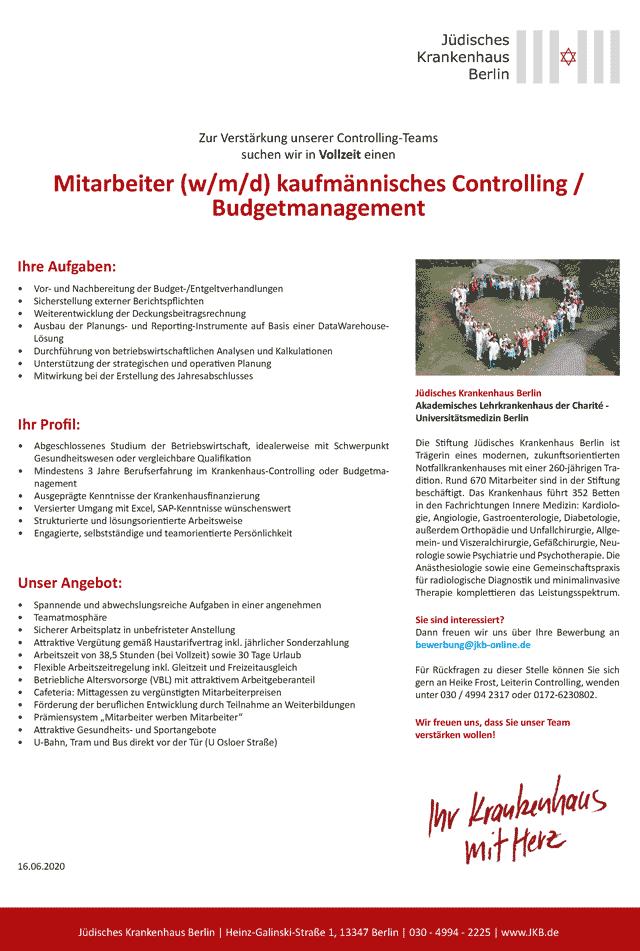 Jüdisches Krankenhaus Berlin: Mitarbeiter kaufmännisches Controlling / Budgetmanagement (w/m/d)