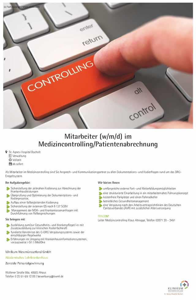 Klinikum Westmünsterland GmbH: Mitarbeiter im Medizincontrolling / Patientenabrechnung (w/m/d)