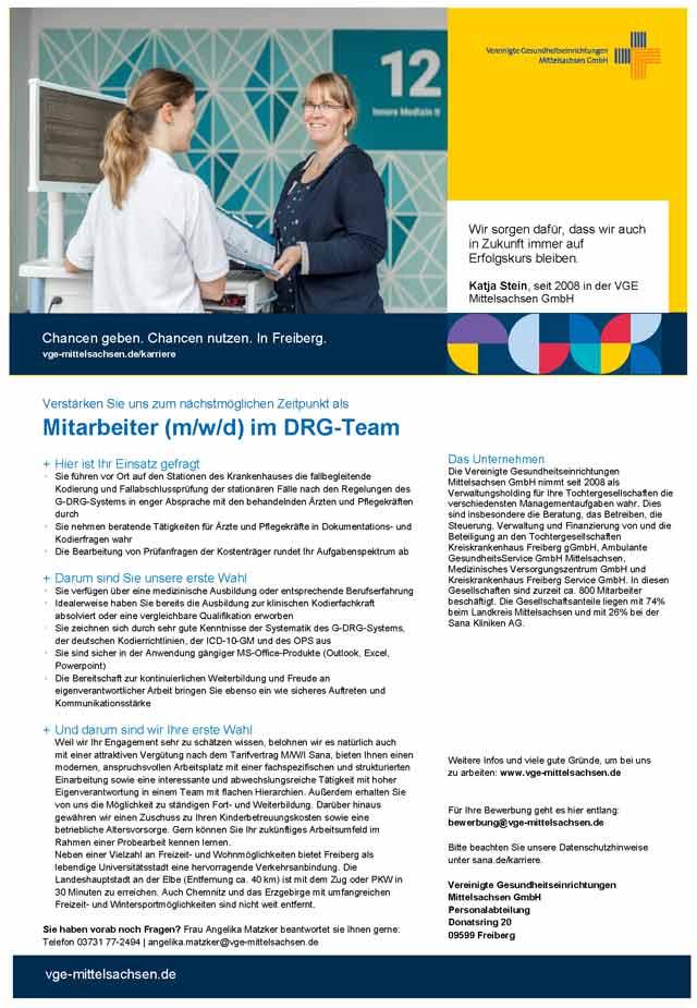 Vereinigte Gesundheitseinrichtungen Mittelsachsen GmbH Freiberg: Mitarbeiter im DRG-Team (m/w/d)