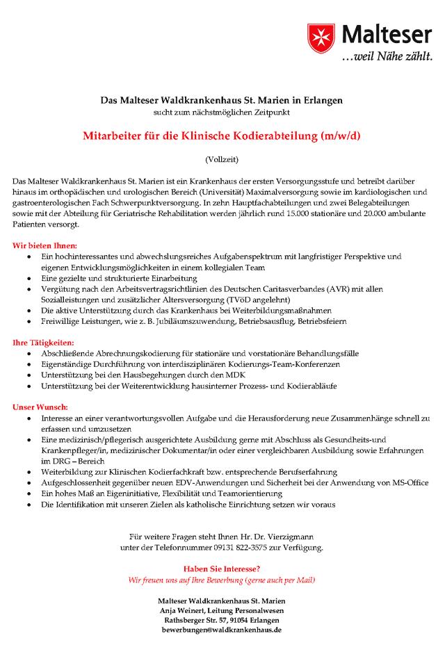 Malteser Waldkrankenhaus St. Marien Erlangen: Mitarbeiter für die Klinische Kodierabteilung (m/w/d)