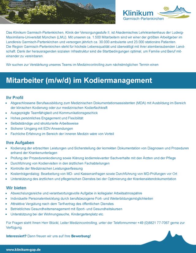 Klinikum Garmisch-Partenkirchen: Mitarbeiter im Kodiermanagement (m/w/d)