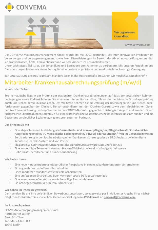 CONVEMA Versorgungsmanagement GmbH: Mitarbeiter Krankenhausabrechnungsprüfung (m/w/d)