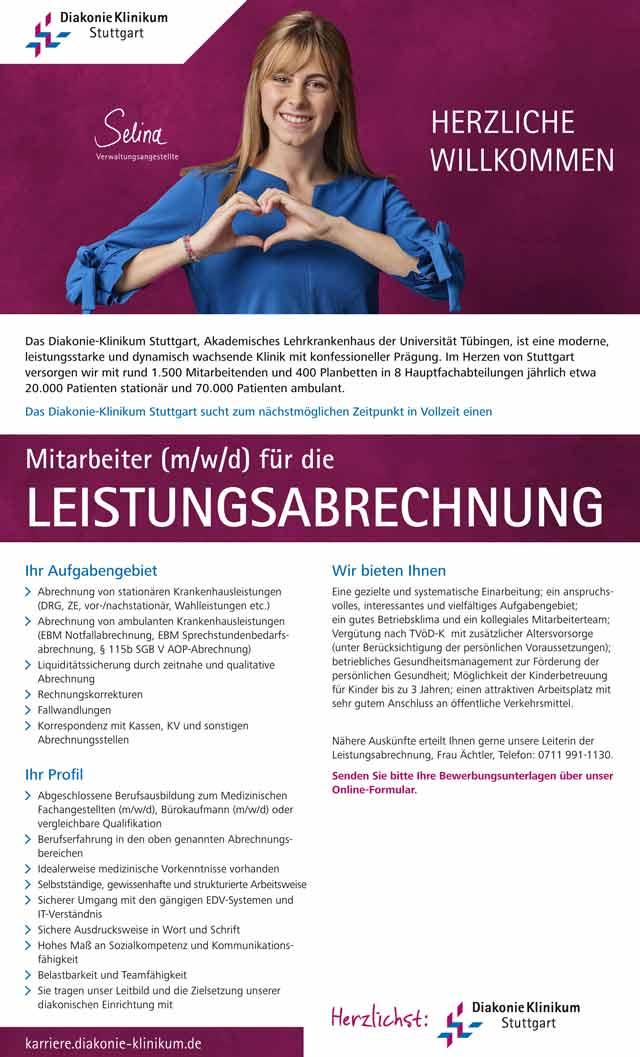 Diakonie-Klinikum Stuttgart: Mitarbeiter f.d. Leistungsabrechnung (m/w/d)