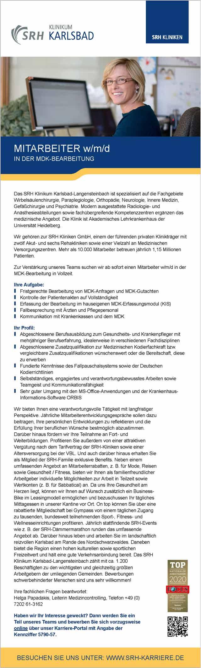 SRH Klinikum Karlsbad-Langensteinbach GmbH: Mitarbeiter in der MDK-Bearbeitung (w/m/d)