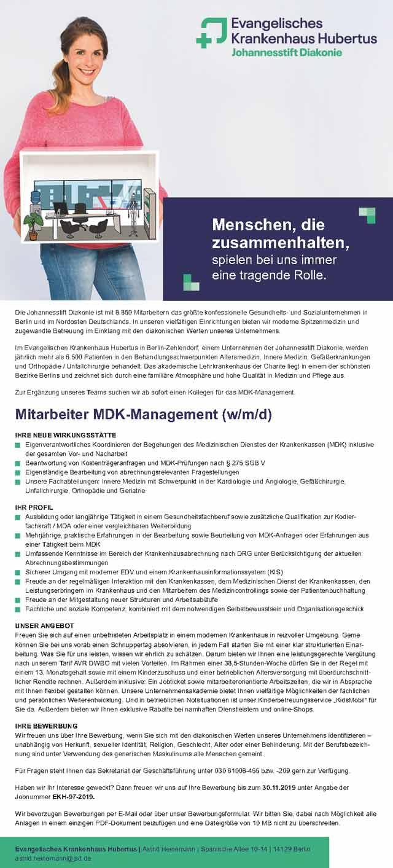 Ev. Krankenhaus Hubertus Berlin: Mitarbeiter MDK-Management (w/m/d)