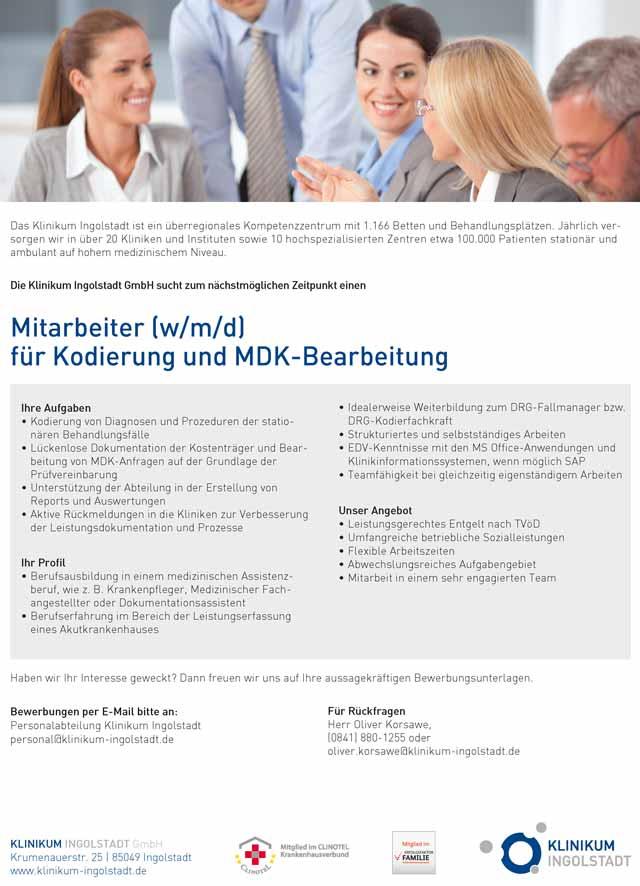 Klinikum Ingolstadt: Mitarbeiter Kodierung und MDK-Bearbeitung (w/m/d)