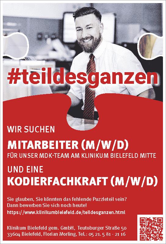 Klinikum Bielefeld gGmbH: Mitarbeiter MDK-Team und Kodierfachkraft (m/w/d)