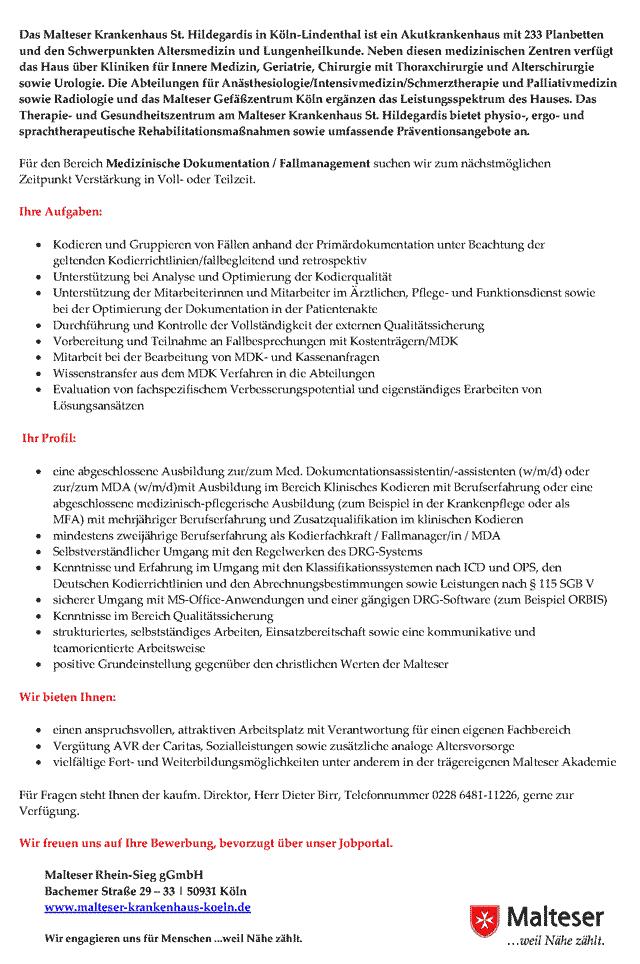 Malteser St. Hildegardis Krankenhaus Köln: Mitarbeiter Medizinische Dokumentation / Fallmanagement (m/w/d)