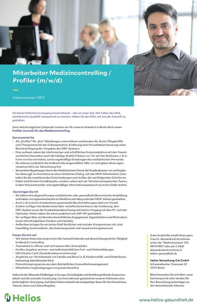 Helios Verwaltung Ost GmbH: Profiler (m/w/d)