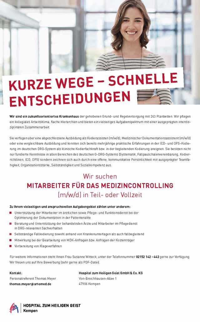 Hospital zum Heiligen Geist GmbH & Co. KG: Mitarbeiter Medizincontrolling (m/w/d)