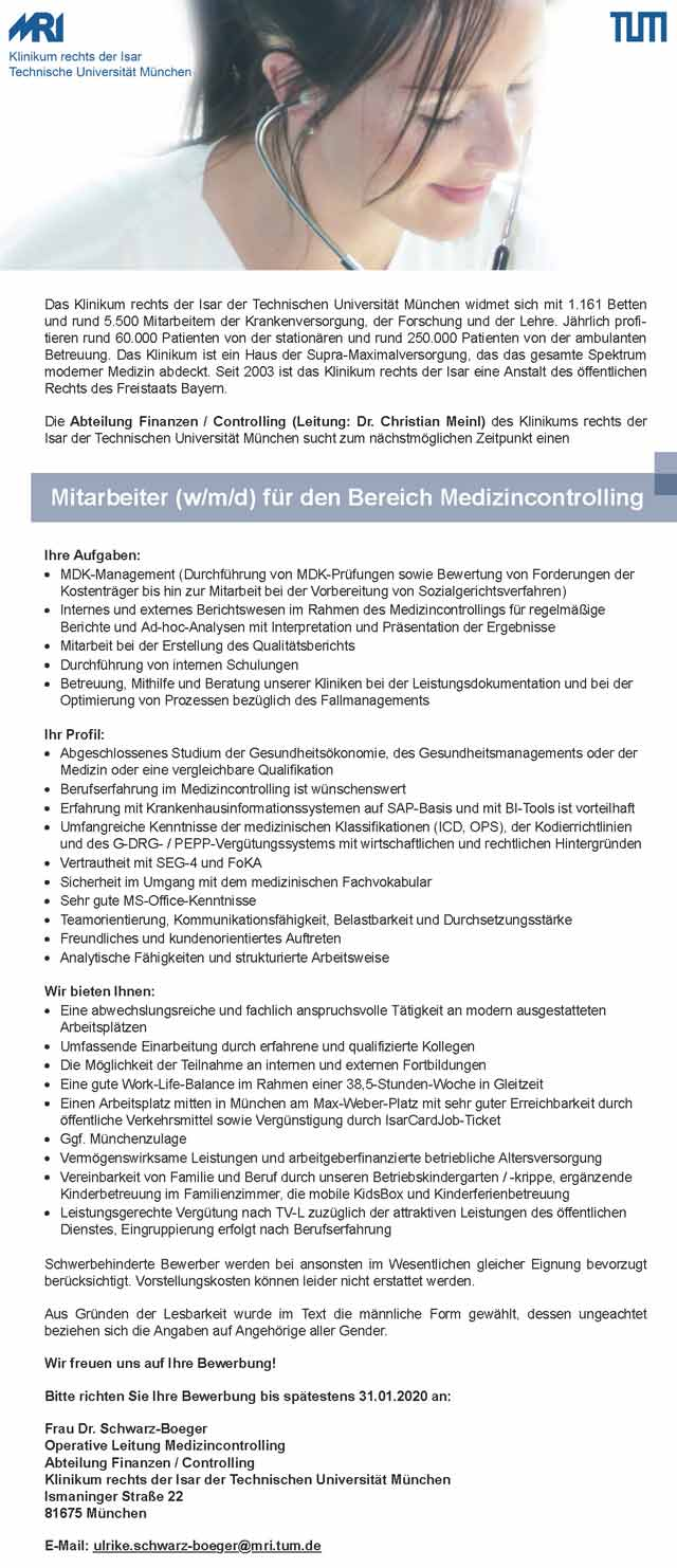 Klinikum rechts der Isar München: Mitarbeiter Medizincontrolling (w/m/d)