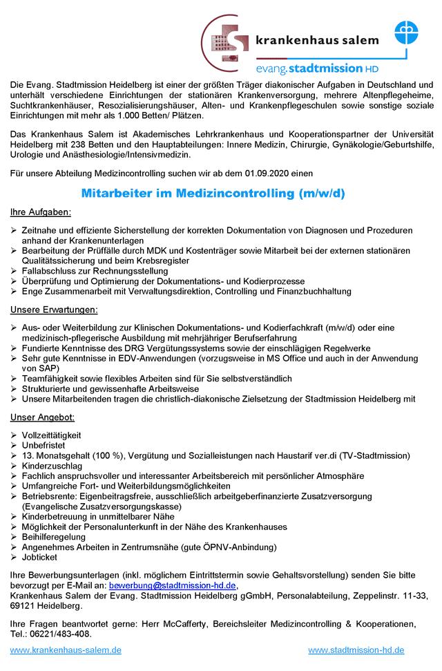 Krankenhaus Salem der Evangelischen Stadtmission Heidelberg gGmbH: Mitarbeiter im Medizincontrolling (m/w/d)