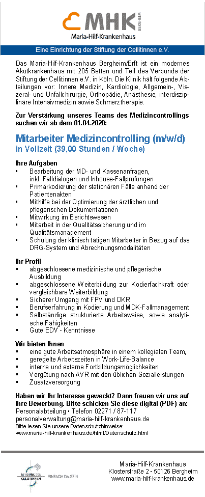 Maria-Hilf-Krankenhaus Bergheim: Mitarbeiter Medizincontrolling (m/w/d)