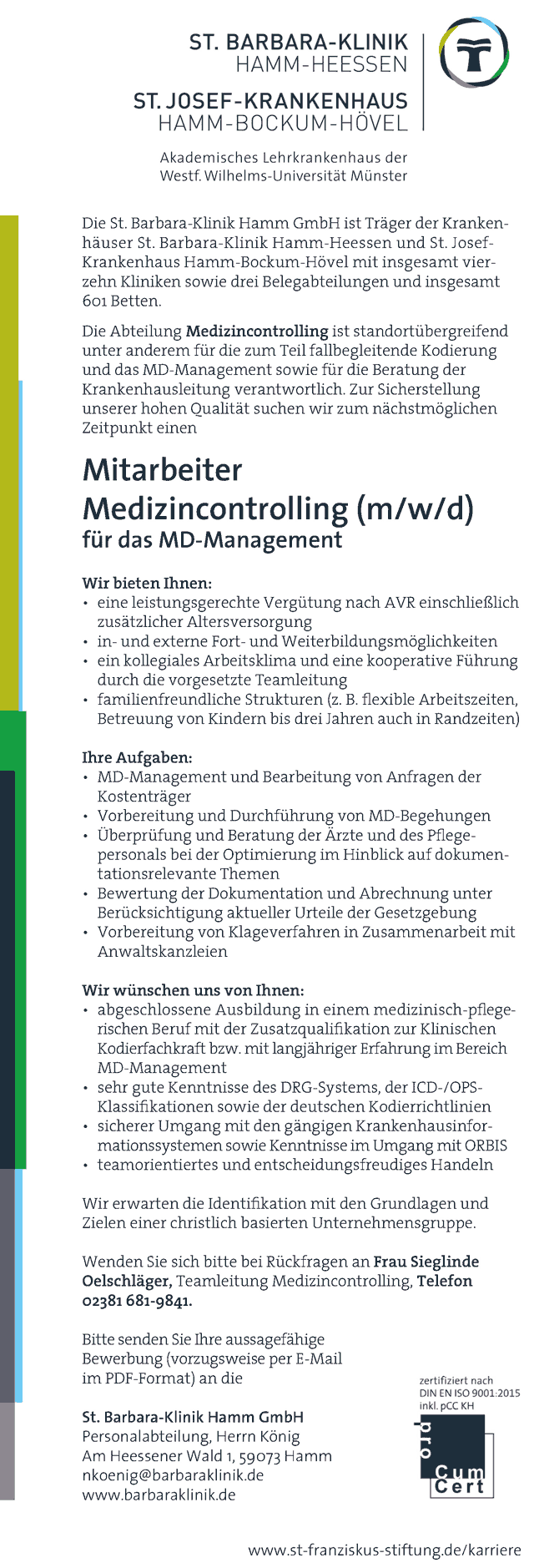 St. Barbara-Klinik Hamm GmbH: Mitarbeiter Medizincontrolling (m/w/d)