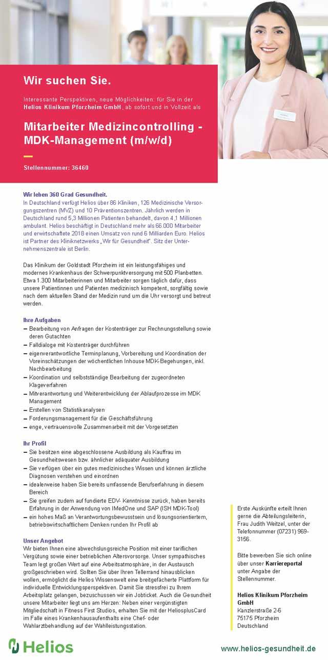 Helios Klinikum Pforzheim GmbH: Mitarbeiter Medizincontrolling - MDK-Management (m/w/d)
