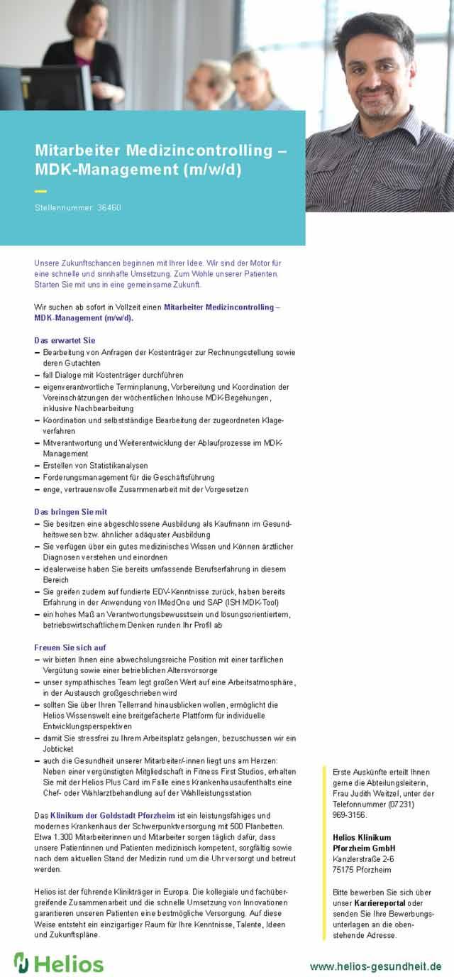 Helios Klinikum Pforzheim GmbH: Mitarbeiter Medizincontrolling / MDK-Management (m/w/d)