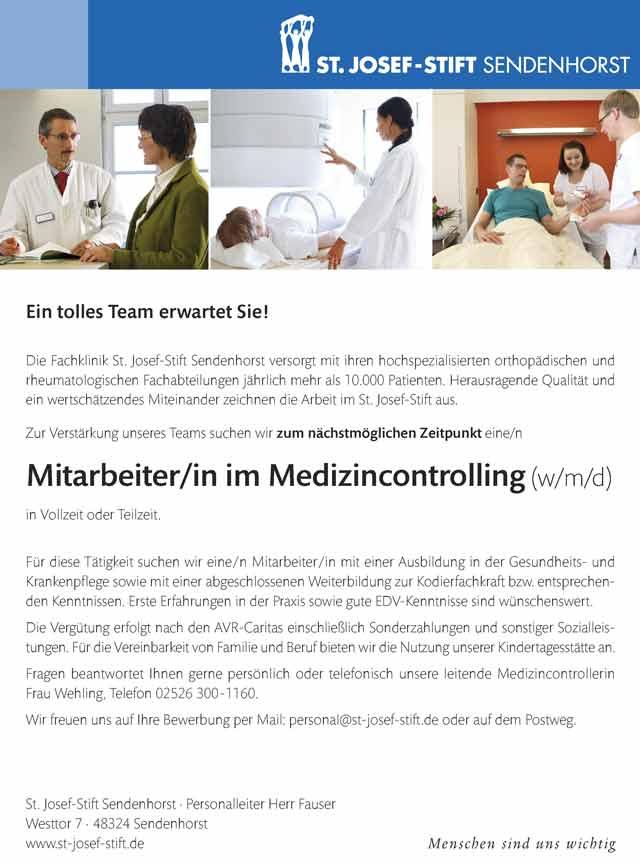 St. Josef-Stift Sendenhorst: Mitarbeiter im Medizincontrolling (m/w/d)