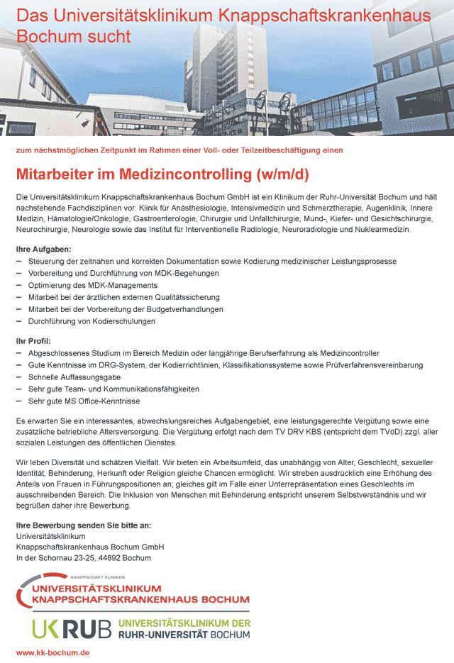 Universitätsklinikum Knappschaftskrankenhaus Bochum GmbH: Mitarbeiter im Medizincontrolling (w/m/d)