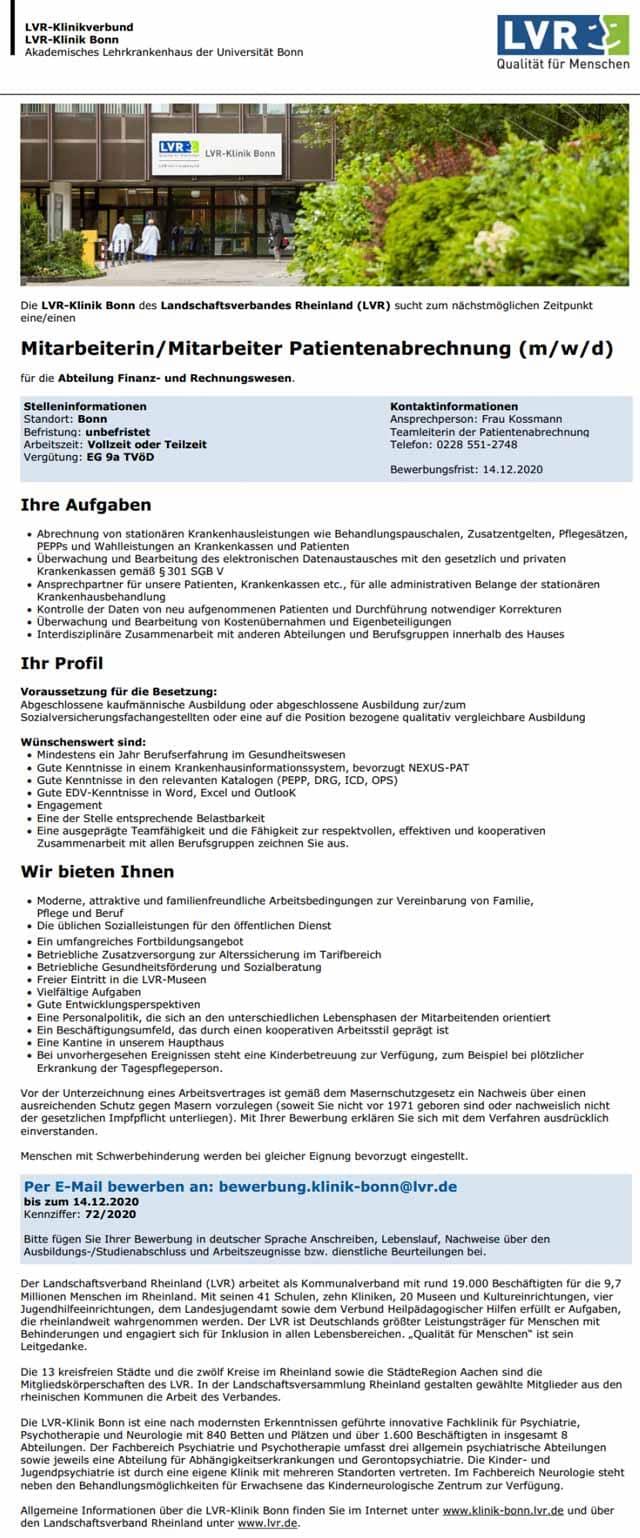 LVR-Klinik Bonn: Mitarbeiter Patientenabrechnung (m/w/d)