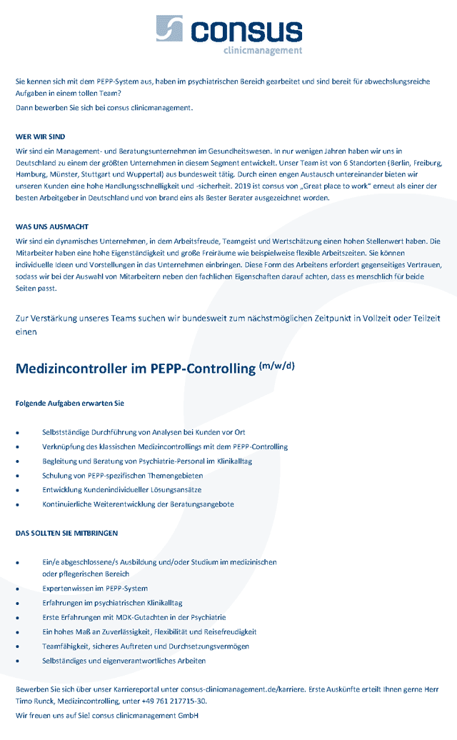 consus clinicmanagement GmbH: Medizincontroller im PEPP-Controlling (m/w/d)