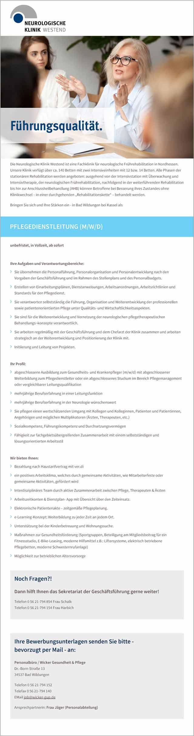 Wicker - Gesundheit und Pflege: Pflegedienstleitung (m/w/d)