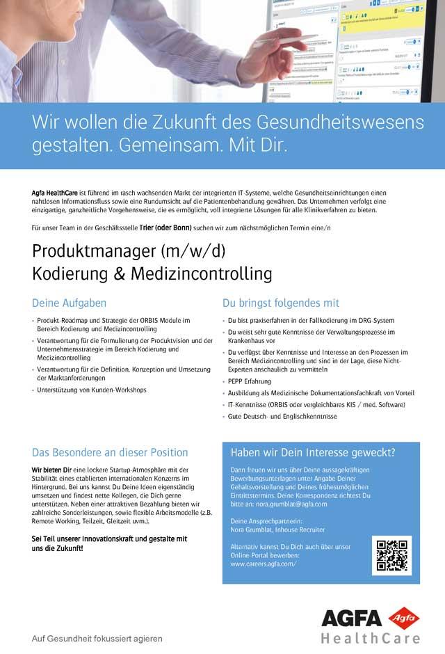 Agfa HealthCare GmbH Bonn: Produktmanager (m/w/d)
