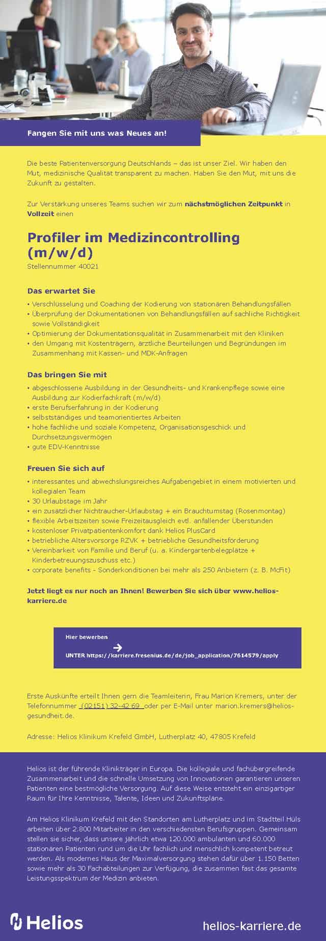 Helios Klinikum Krefeld: Profiler im Medizincontrolling (m/w/d)