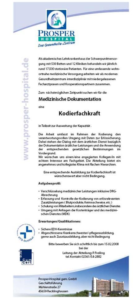 Prosper Hospital Recklinghausen: Kodierfachkraft (m/w)